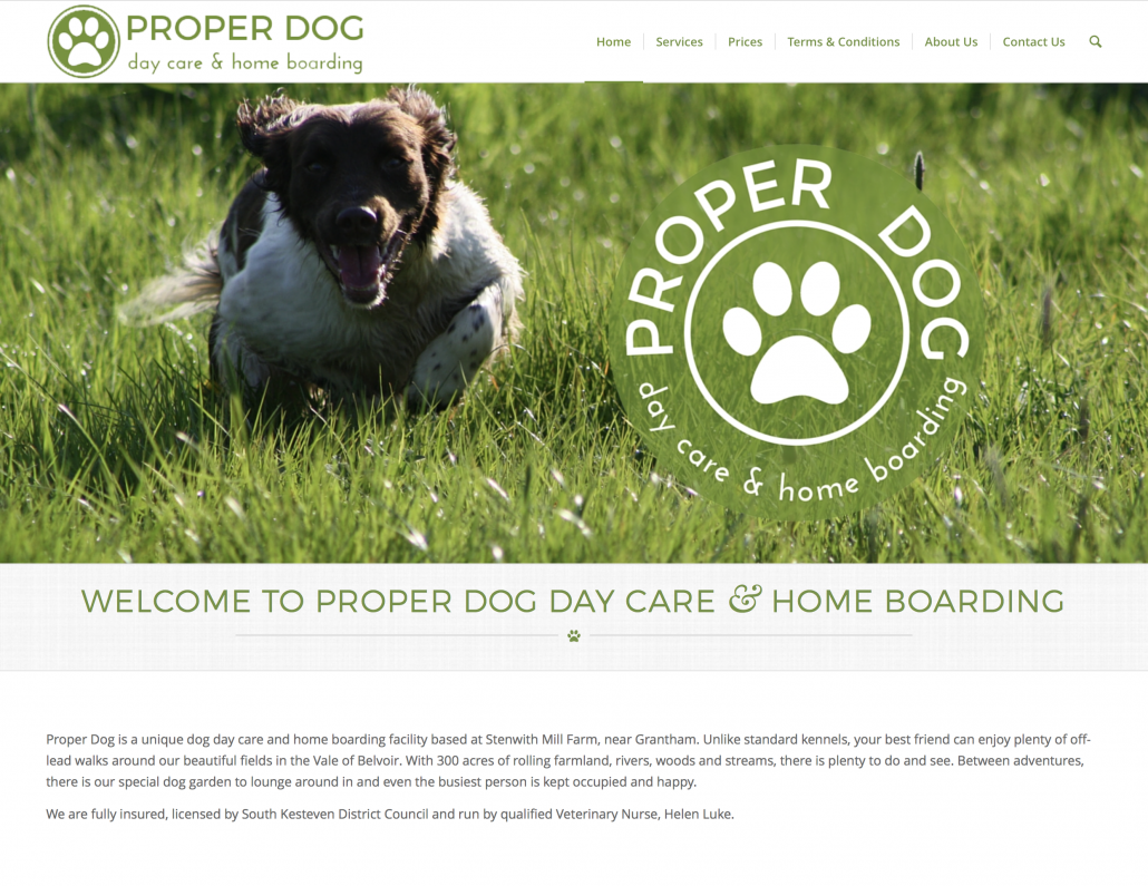 Proper Dog Day Care & Home Boarding | website design by Awenek